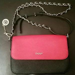 DKNY red and black mini flap cross body bag